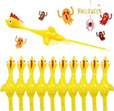 Rubber Chicken Slingshot Novelty Stress Flickin Chicken Game Flying Chicken Toys Sticky Rubber Slingshot Chicken Office Pranks Easter Chicks Halloween Games Christmas Toys for Kids Adults 10 PCS
