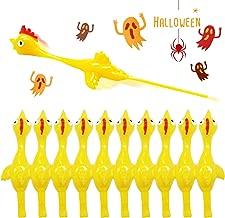 Rubber Chicken Slingshot Novelty Stress Flickin Chicken Game Flying chickens Toys Sticky Rubber Slingshot Chicken Dog Toy Office Pranks Easter Chicks Halloween Games Turkey Toys for Kids Adults 10 PCS