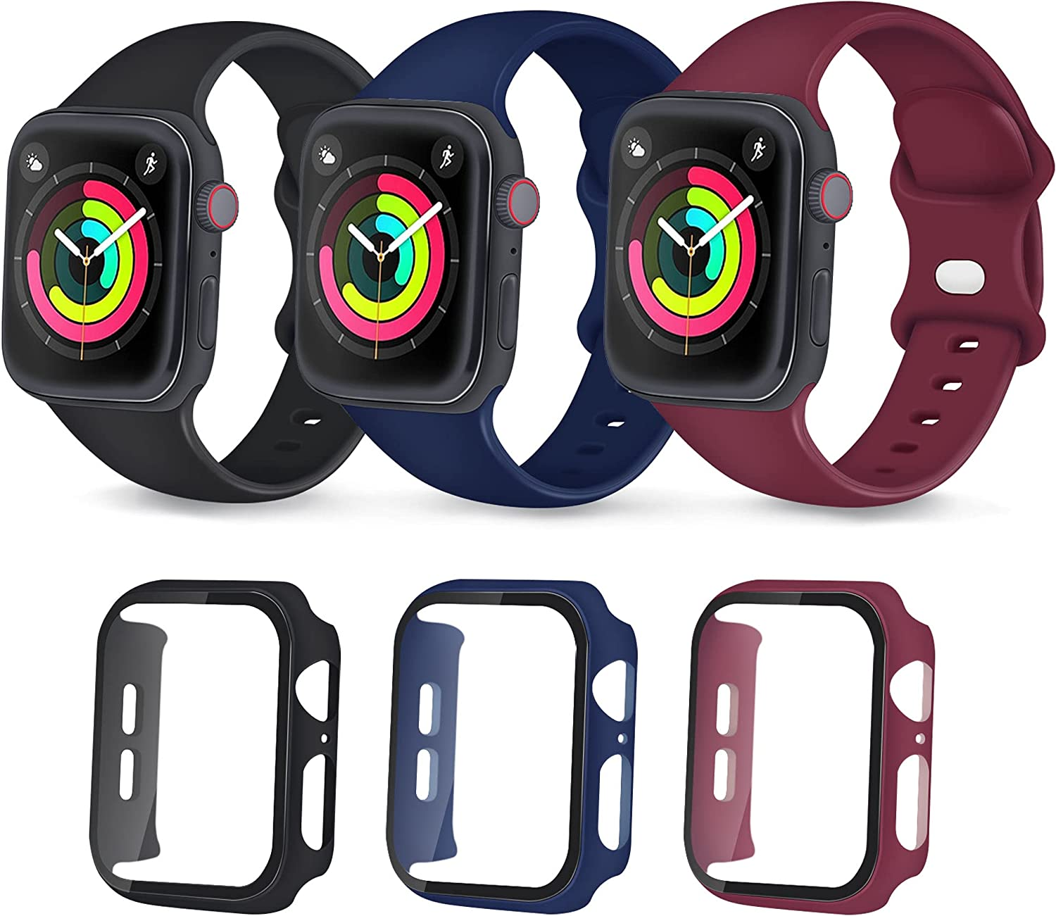 BRHE Sport Band Compatible with Apple Watch 44mm 42mm 38mm 40mm Men Women with PC Case Kit Waterproof Silicone Replace Strap for iWatch Series 6 5 4 3 2 1 SE 3 Pack (Black/Navy Blue/Wine Red, 44mm)