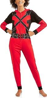 Deadpool Women's Cozy Fleece Union Suit Hooded Pajamas