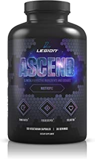 Legion Athletics Ascend Nootropic - All Natural Brain Supplement for Boosting Energy, Focus, Memory - Banish