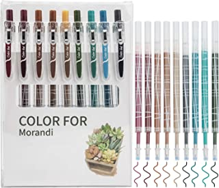 STAPENS Retractable Gel Pens, Colored Ballpoint Pens with Refills, 9 Assorted Colors (Nordic 9 Colors)