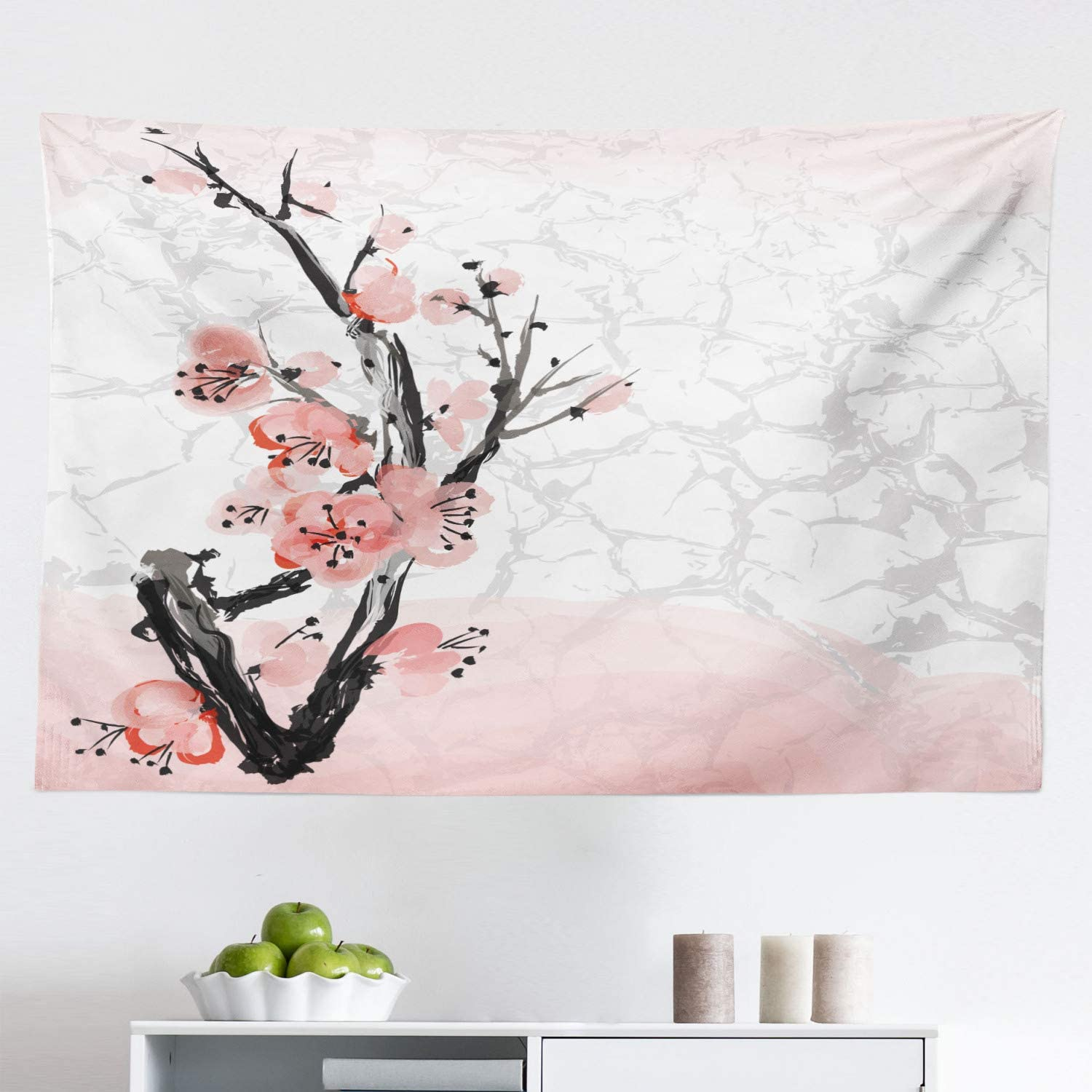 Amazon Com Lunarable Floral Tapestry Japanese Cherry Blossom Sakura Tree Branch Soft Pastel Watercolor Print Fabric Wall Hanging Decor For Bedroom Living Room Dorm 45 X 30 Pink Coral Home Kitchen