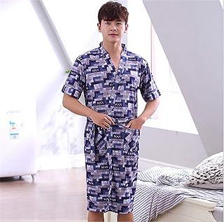 男性パジャマナイトガウン夏のナイトウェアドレッシングパジャマ綿柔らかい快適バスローブ睡眠ホテルホーム