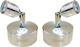 zmayastar USB充電式 LEDウォールライト 2個セット 特恵のセット LEDスポットライト 配線いらず LEDライト バックライト ショーケース照明 天井照明 角度調節 壁掛け照明 屋内 電球色 ZM-SD-01 (充電式-昼白色-1)