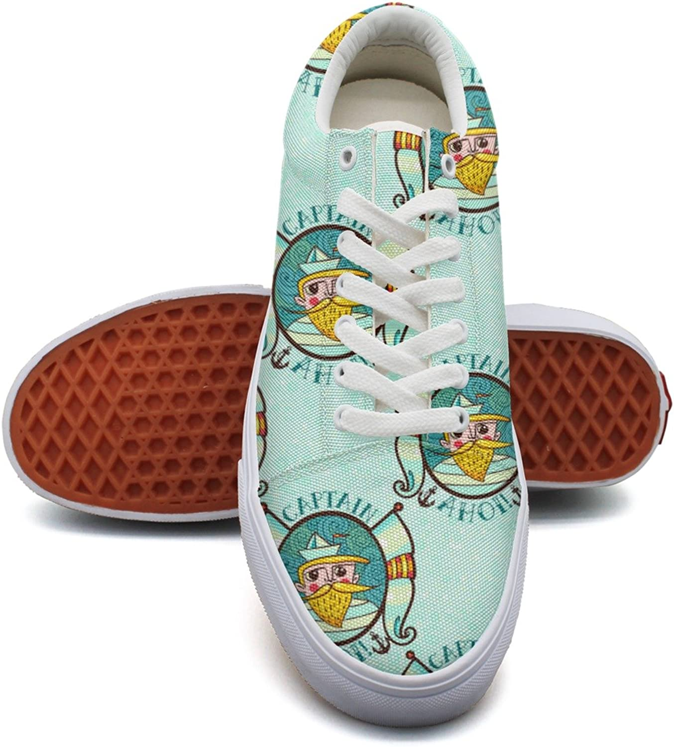 Feenfling Boat Captain bluee Womens Casual Canvas Sneakers Low Top Neon Athletic Sneakers for Women