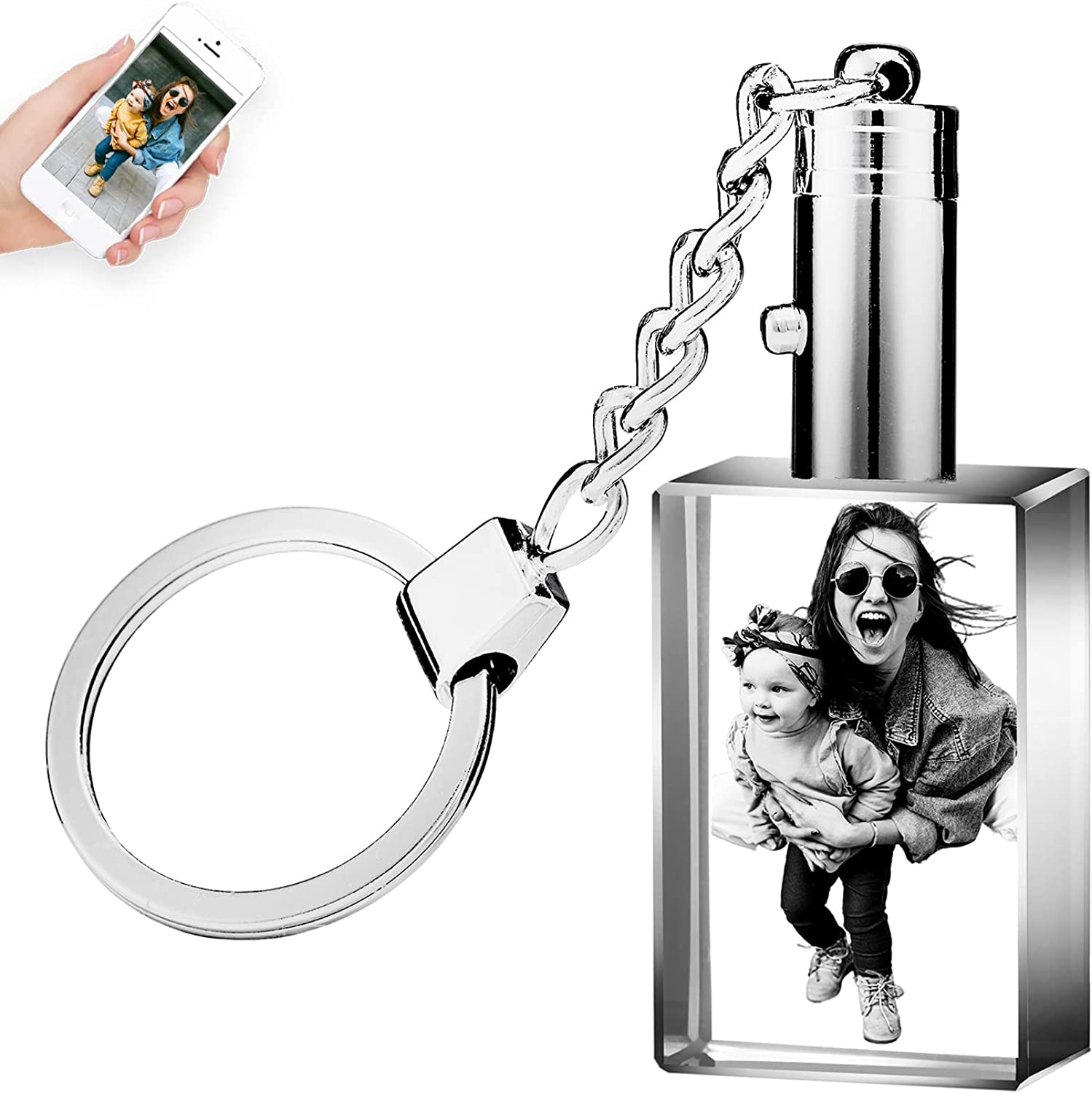 Custom Crystal Photo Keychain,Personalized Laser Crystal Picture Key Chain Gift