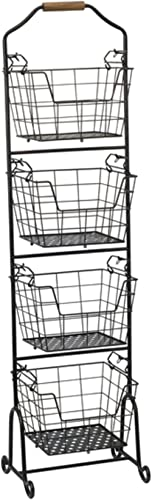 Gourmet Basics by Mikasa 5228872 Ferme 4-Tier Metal Floor Standing Fruit/Home Storage Market Basket, Large, Antique B...