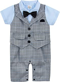 Baby Boys' Gentleman Rompers Tuxedo Outfits with Bowtie