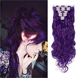 8PCS Clip in Hair Extensions Straight Wavy Curly Full Head Women Colorful Highlight Ombre Hairpiece -24