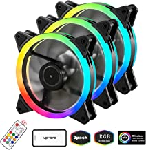 upHere 3-Pack Wireless RGB LED 120mm Case Fan,Quiet Edition High Airflow Adjustable Color LED Case Fan for PC Cases, CPU Coolers,Radiators System,RGB123-3