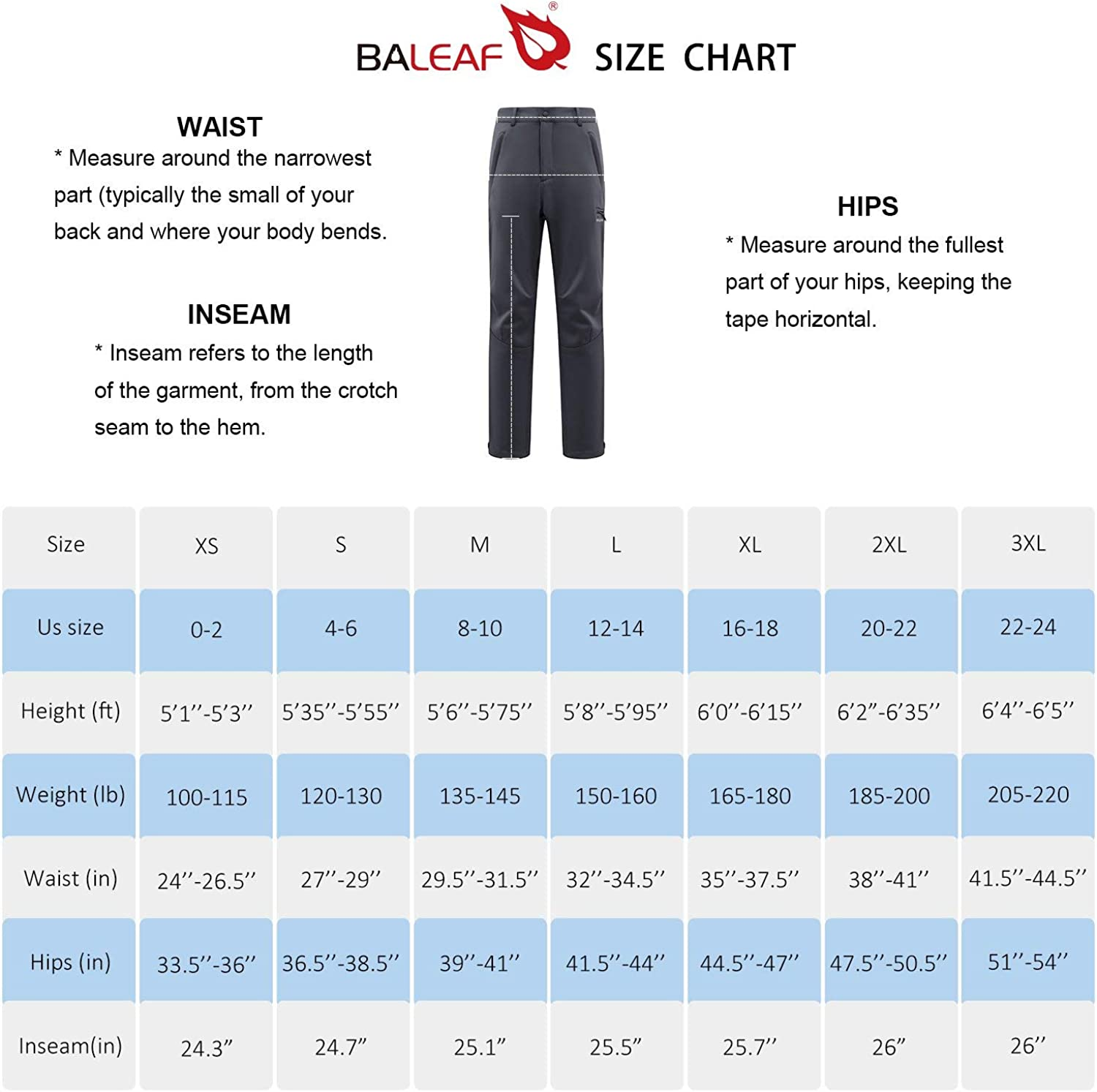 BALEAF Men/'s Fleece-Lined Windproof Ski Pants Waterproof Winter Hiking Pants