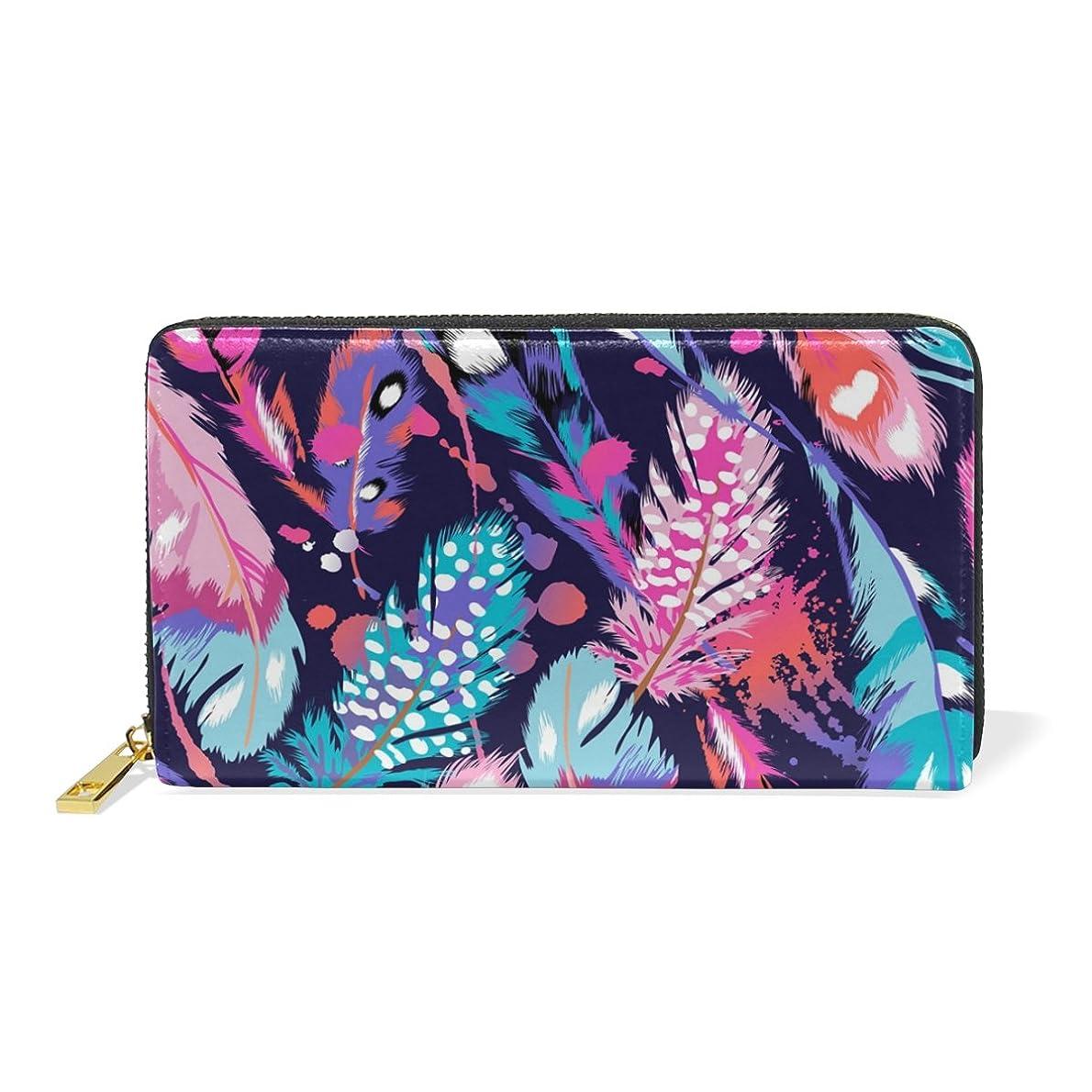 つかいます農学休暇マキク(MAKIKU) 長財布 レディース 本革 大容量 ラウンドファスナー カード12枚収納 プレゼント対応 羽柄 翼 水彩 ブルー ピンク
