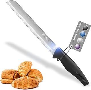 Wanbasion Argenté Couteau à Pain Ergonomique de Cuisine Scie, Couteau à Pain INOX Petit Professionnel, Couteau à Pain Plas...