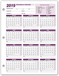 Work Tracker Attendance Calendar Cards- 8 ½ X 11 Cardstock/Pack of 25 Sheets (2019)