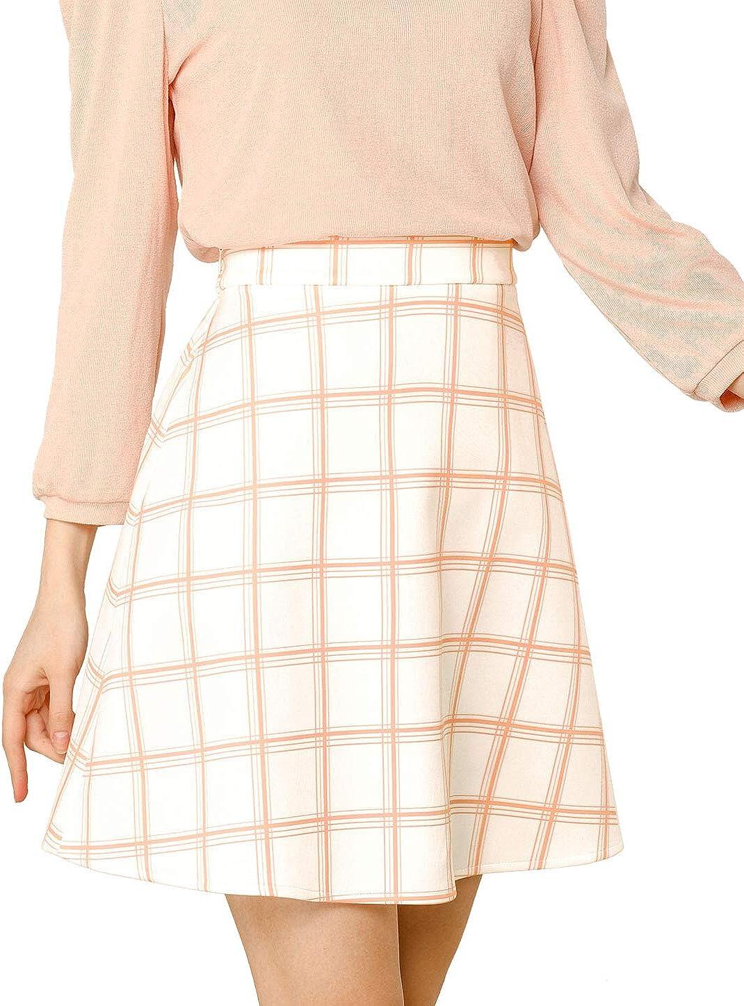Allegra K Women's Plaid High Waist Stretchy Above The Knee A-Line Skirt