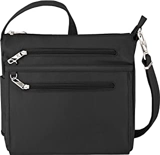 Anti-Theft Essential North/South Bag - Small Nylon Crossbody for Travel & Everyday - (Black/Dusty Rose Interior)