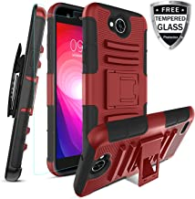 LG X Power 2 Case/LG Fiesta 2 LTE/LG X Charge/LG Fiesta LTE with [Tempered Glass Screen Protector] Built-in Kickstand Swivel Combo Holster Phone Belt Clip Heavy Duty Shockproof Case(PC-Red)