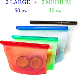 Reusable Silicone Storage Bags - Set of 4 - Food Bag for Kitchen, Lunch, Freezer - Ziploc Plastic Baggies Alternatives - Large Silicon Container Pouch - Reuseable Containers for Camping Sandwich Snack