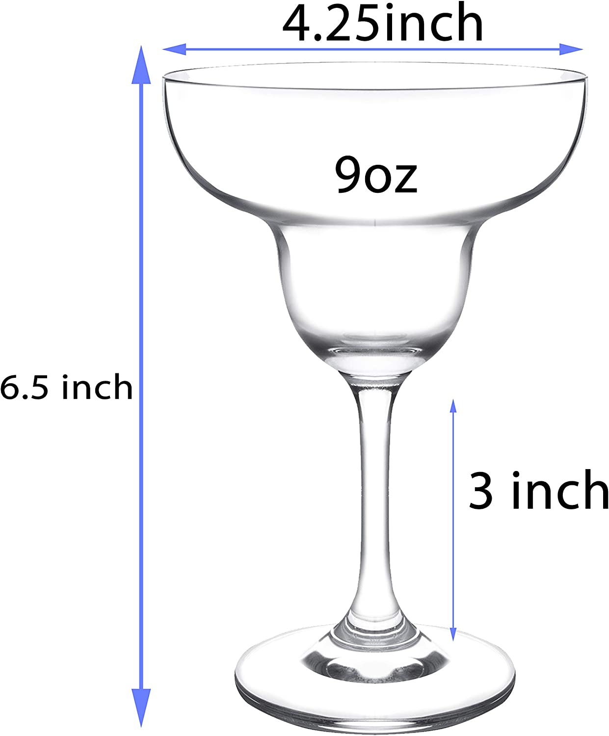 JEKOSEN Margarita Cocktail Glasses 9 Ounce Set of 4 Premium Strong Crystal Ecological /& Lead-Free Clear Crystal Party Drinking Glasses