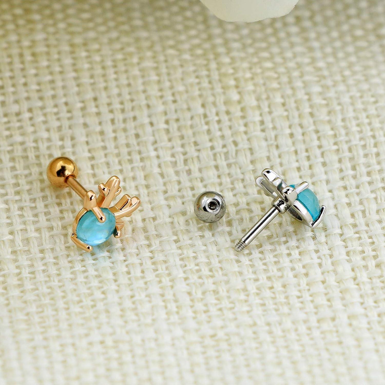OUFER Cartilage Earrings Deer Head 316L Surgical Steel Stud Earrings Helix Earrings Body Ear Piercing Jewelry