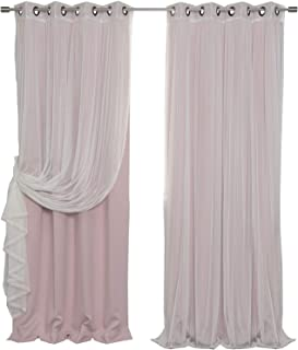 Best Home Fashion Mix & Match Tulle Sheer Lace & Blackout Curtain Set - Antique Bronze Grommet Top - Dusty Pink - 52