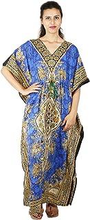 Floral Print Long Caftan Tunic Dress Maxi Kaftan Plus Size Cover up Dresses for Women Blue
