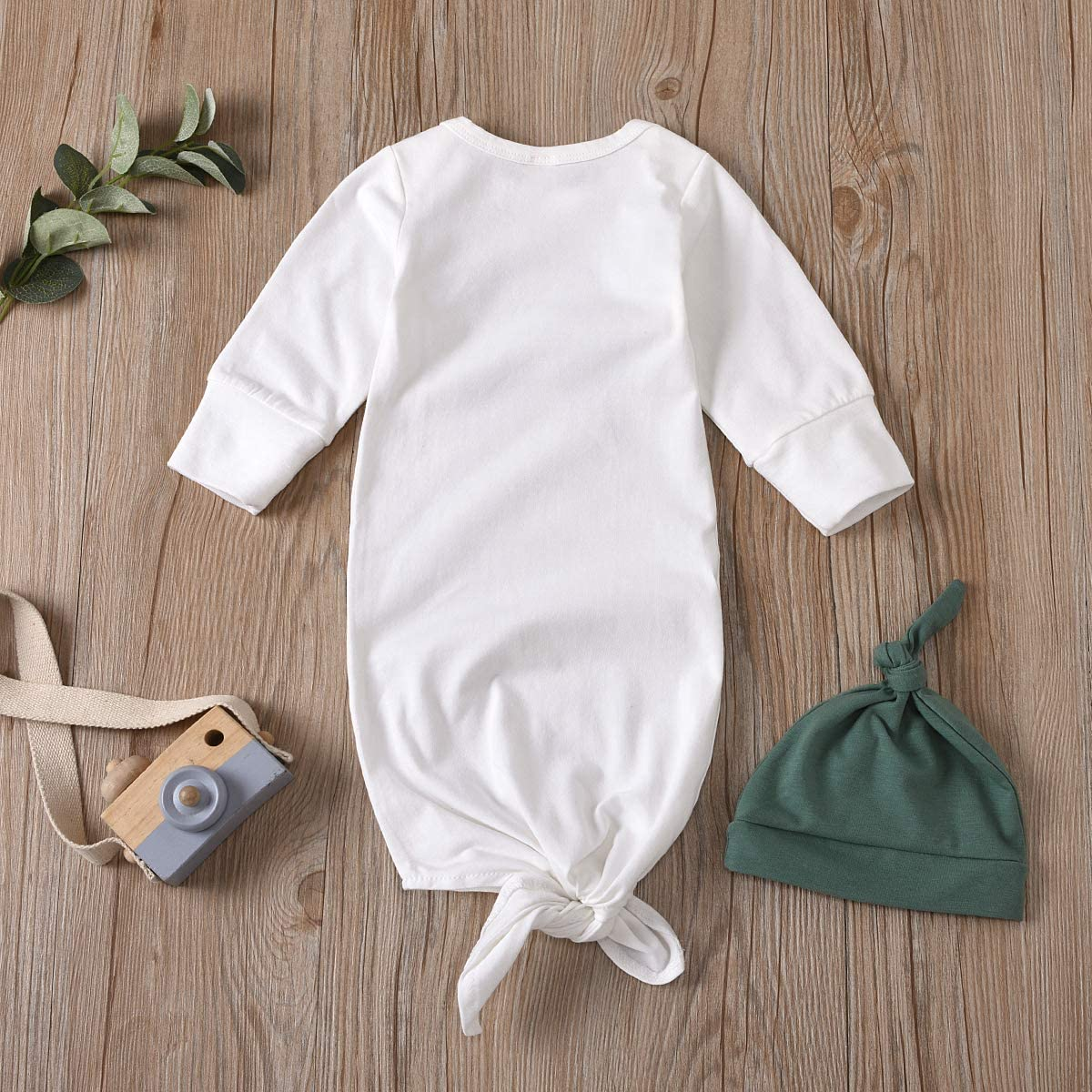 Newborn Unisex Baby Gown Sleeping Bag Rainbow Print Cotton Knotted Sleepwear Long Sleeve Nightgown Outfits Hat Set