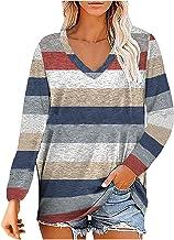pour Pull à manches longues pour femme - Imprimé - Tops - Sweatshirt - Veste à capuche - Pour femme - À rayures - Col en V.