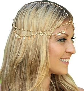 Jixin4you Women Girls Sequins Tassels Boho Hair Accessory Head Chain Alloy Headpiece Jewelry Gold