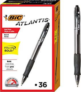 BIC Velocity Bold Retractable Ballpoint Pen, Bold Point (1.6mm), Black, 36-Count