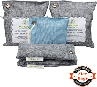 Bamboo Charcoal Odor Eliminator Absorber - Air Purifying Bags Room   Basement   Bathroom   Gym, Car Freshener   Natural & Eco Friendly 200GX2, 75GX1, 50GX2