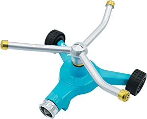 Aqua Joe AJ-TRSWB Indestructible Series Metal 3-Arm Rotating Sprinkler, w/Wheeled 8-Inch Base