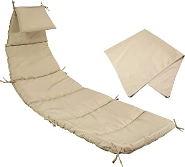 Sunnydaze Outdoor Hanging Lounge Chair Replacement Cushion and Umbrella Fabric - Beige