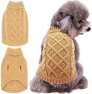 Mihachi Dog Sweater - Winter Coat Apparel Classic Cable Knit Clothes for Cold Weather