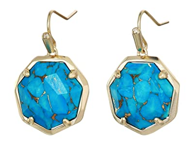 Kendra Scott Cynthia Drop Earrings (Gold/Bronze/Veined Turquoise) Earring