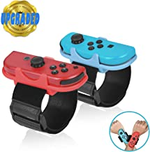 Welwel Upgraded Wrist Band for Nintendo Switch Controller Game Just Dance 2020 2019, Adjustable Straps with Soft PU Leather Surface for Joy-Cons Controllers, More Comfortable Touch, 2 Pack (Blue&Red)