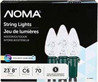 NOMA LED C6 Christmas Lights   Indoor/Outdoor String Lights   Clear Cool White Bulbs   70 Light Set   23.8 Foot Strand   UL Certified