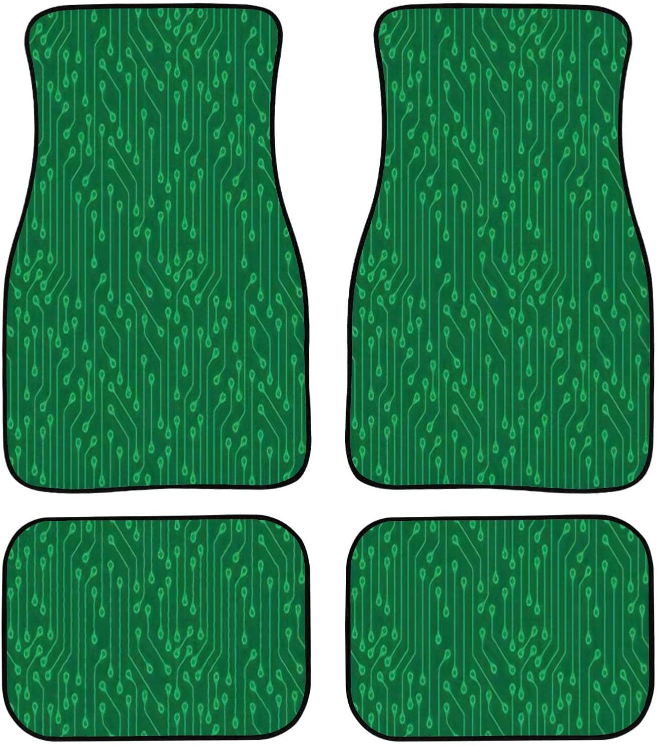 OBIEORNNCFUJ Chicago Mall Car Floor Mats - Cheap mail order sales Pattern Electron of Seamless Green