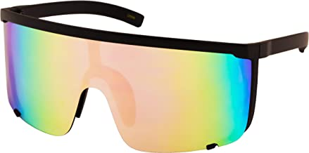 Elite Unisex Oversized Super Shield Mirrored Lens Sunglasses Retro Flat Top Matte Black Frame