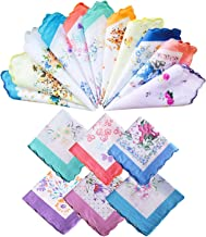 Laides Handkerchiefs in Floral Print 100% Cotton with Scalloped Edge Hankies Hanky