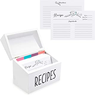 White Farmhouse 4x6 Wood Recipe Box with Cards and Dividers Gift Set | 75 White Double Sided 4x6 Recipe Cards & 8 Dividers | Great Gift for Mom Women Wedding Bridal Shower