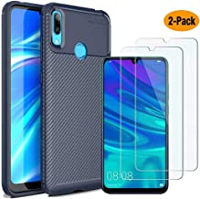 MYLB-US Huawei Y7 2019 case and Screen Protector, [3 in 1] Ultra-Thin high-Grade Soft TPU Silicone case Carbon Fiber Design case, Suitable for Huawei Y7 2019 Smartphone case(Blue)