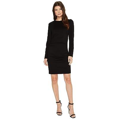 Nicole Miller Asymmetrical Exaggerated Shoulder Ponte Dress (Black) Women