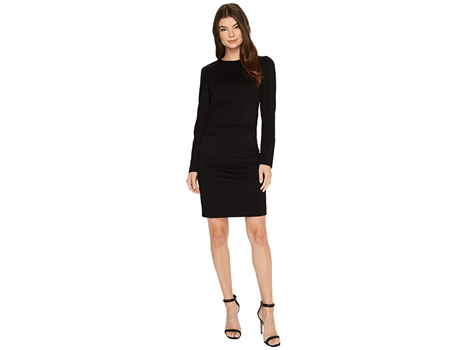 Nicole Miller Asymmetrical Exaggerated Shoulder Ponte Dress (Black) Women