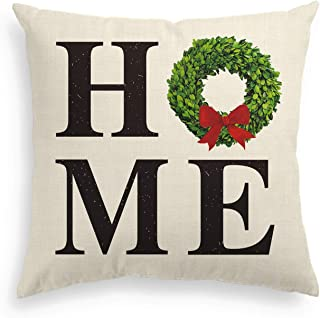 AVOIN Christmas Boxwood Wreath Throw Pillow Cover Home Quote, 18 x 18 Inch Winter Holiday Farmhouse Linen Cushion Case Decoration for Sofa Couch