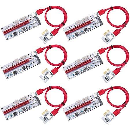 HENGBIRD PCI-E 1X to 16X ライザー エクステンダーカード USB 3.0 PCI-E Express 拡張子ケーブル ビットコイン採掘 マイニング 4pin 6Pin PCI-Eと15Pin SATA 6個セット