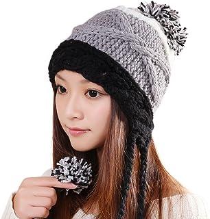 ALiberSoul Pom Pom Beanie Hat Ear Flap Winter Knit Hat