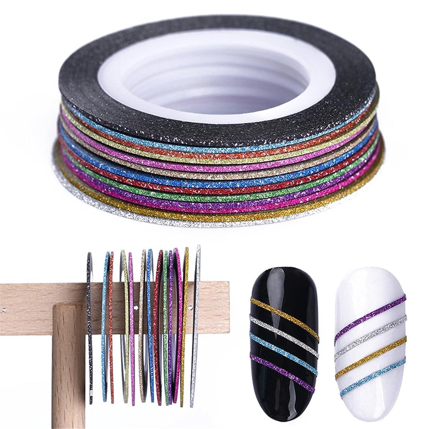 浸す多用途ウッズBORN PRETTY カラフルネイルテープ グリッターラインテープ ネイルアート用 3Dデコレーション ネイルチップ1mm 13色セット [並行輸入品]