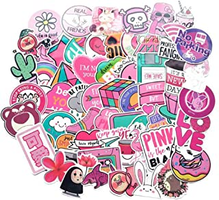 110 Pack Pink Laptop Stickers for Girls Cute Stickers for Laptop Skateboard Luggage, Waterproof Vinyl Stickers Decal Rainbow Unicorn Lollipop Laser Stickers
